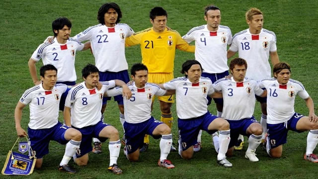 L'équipe de football du Japon avant un match